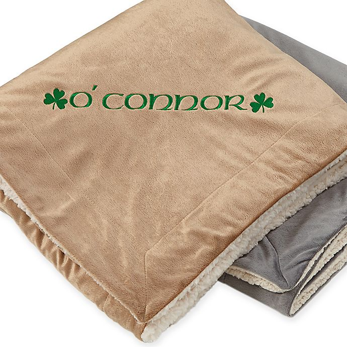 Alternate image 1 for Irish Pride 50-Inch x 60-Inch Embroidered Sherpa Blanket