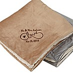 Warmhearted Wedding 50-Inch x 60-Inch Embroidered Sherpa Blanket