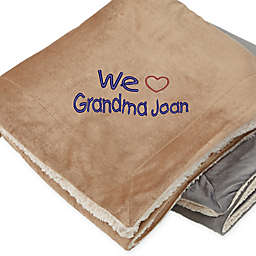 Warm Hearted Embroidered Sherpa Blanket for Her