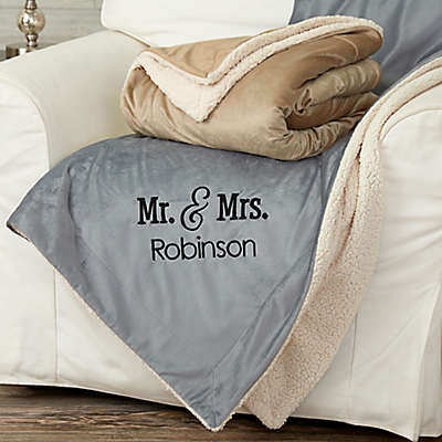 Mr. and Mrs. Embroidered Sherpa Blanket