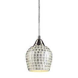 ELK Lighting Fusion 1-Light Pendant in Satin Nickel and Silver Mosaic Glass