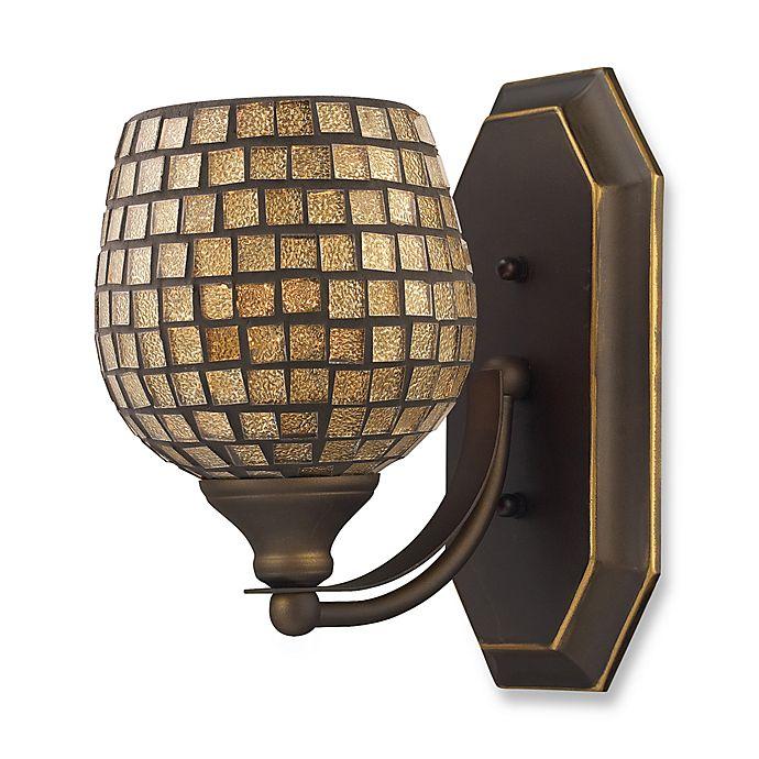 Alternate image 1 for ELK Lighting Vanity 1-Light Vanity Fixture in Aged Bronze and Gold Mosaic Glass