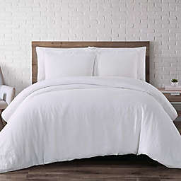 Brooklyn Loom Linen 3-Piece Full/Queen Duvet Cover Set in White