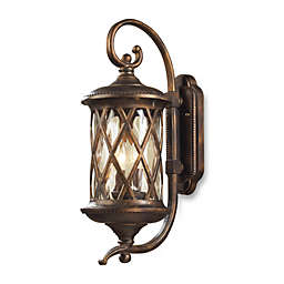 ELK Lighting Barrington Gate 2-Light Outdoor Sconce In Hazlenut Bronze And Designer Water Glass