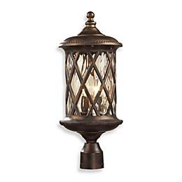ELK Lighting Barrington Gate 2-Light Post Light In Hazlenut Bronze And Designer Water Glass