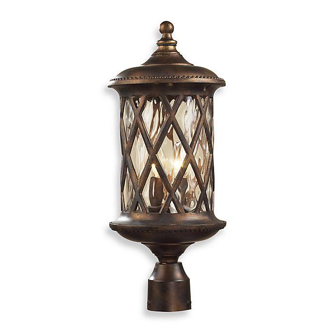 Alternate image 1 for ELK Lighting Barrington Gate 2-Light Post Light In Hazlenut Bronze And Designer Water Glass