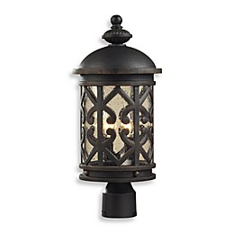 ELK Lighting Tuscany Coast 2-Light Post Light in Weathered Charcoal and Clear Seeded Glass