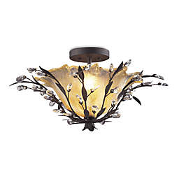 ELK Lighting 2-Light Semi Flush in Deep Rust and Crystal Droplets