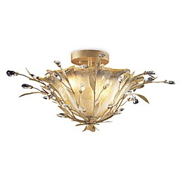 ELK Lighting Circeo 2-Light Semi Flush in Russet Beige and Crystal Droplets