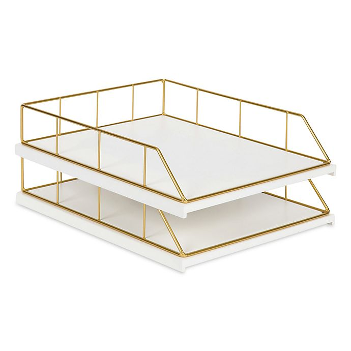 Alternate image 1 for Kate and Laurel® Benbrook Stacked Letter Trays in White and Gold