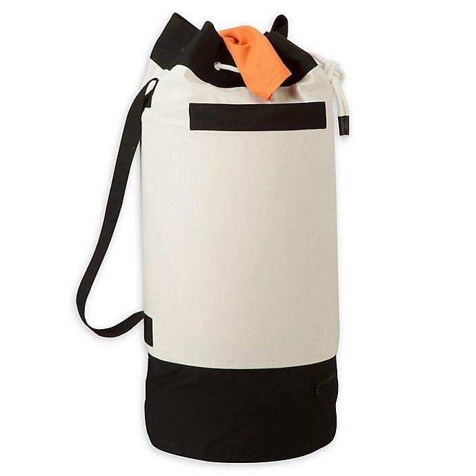 Alternate image 1 for Honey-Can-Do® Extra Capacity Heavy Duty Laundry Duffel in Black/White