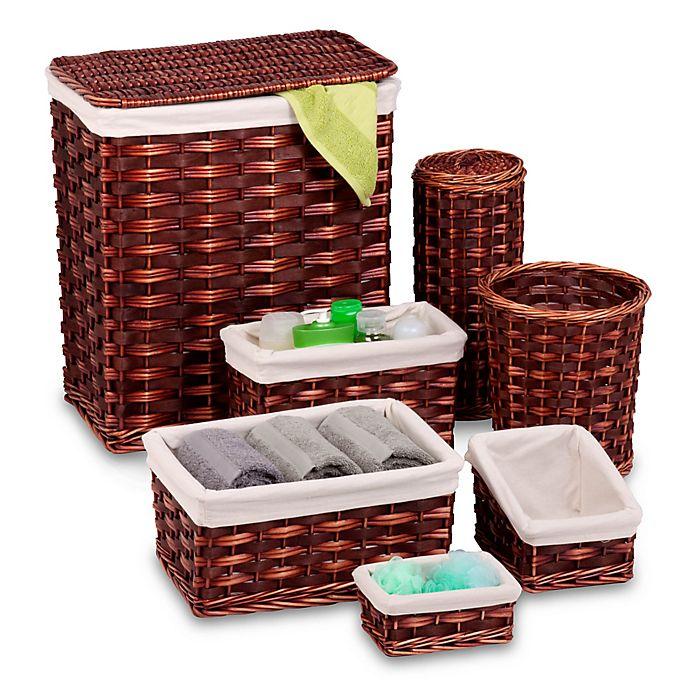 Alternate image 1 for Honey-Can-Do® 7-Piece Wicker Hamper and Bath Set
