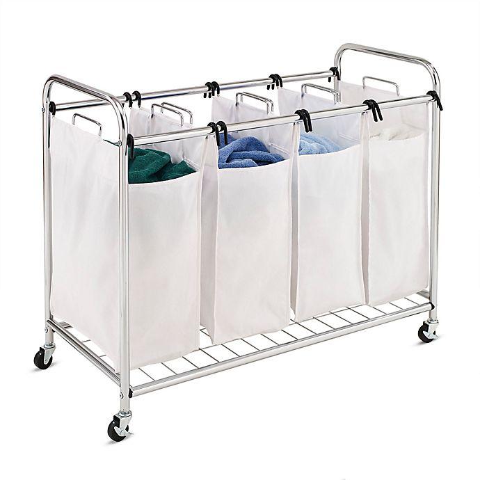 Alternate image 1 for Honey-Can-Do® Heavy-Duty Quad Laundry Sorter in White/Chrome