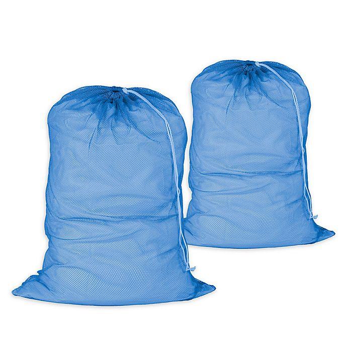 Alternate image 1 for Honey-Can-Do® 2-Pack Mesh Laundry Bag in Blue