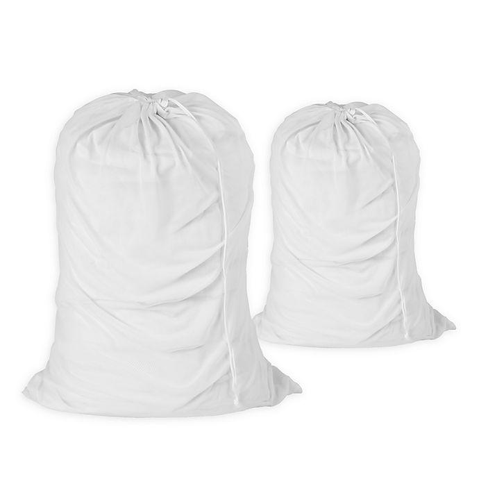 Alternate image 1 for Honey-Can-Do® 2-Pack Mesh Laundry Bag in White