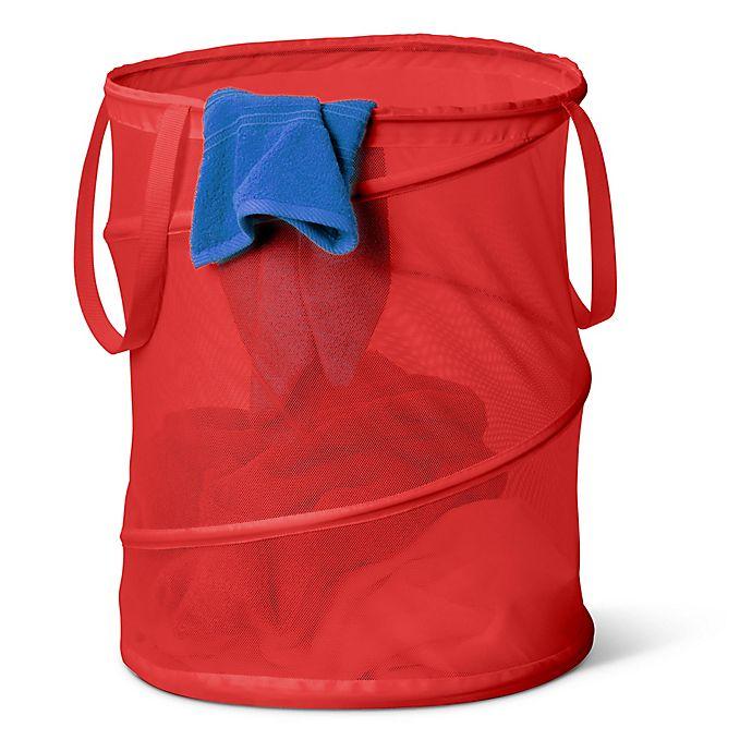 Alternate image 1 for Honey-Can-Do® Large Pop-Up Mesh Hamper in Red