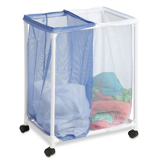 Honey Can Do Mesh Rolling Hamper In White Blue Bed Bath Beyond