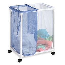 Honey-Can-Do® Mesh Rolling Hamper in White/Blue