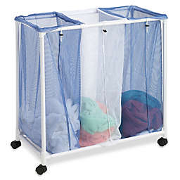Honey-Can-Do® 3-Bag Mesh Rolling Hamper in White/Blue