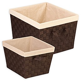 Honey-Can-Do® 2-Piece Woven Task-It Baskets with Liners Set in Cream