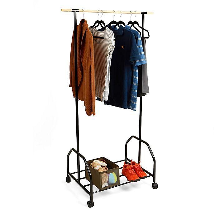 Alternate image 1 for Mind Reader Rolling Garment Rack with Bottom Shelf