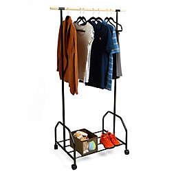 Mind Reader Rolling Garment Rack with Bottom Shelf