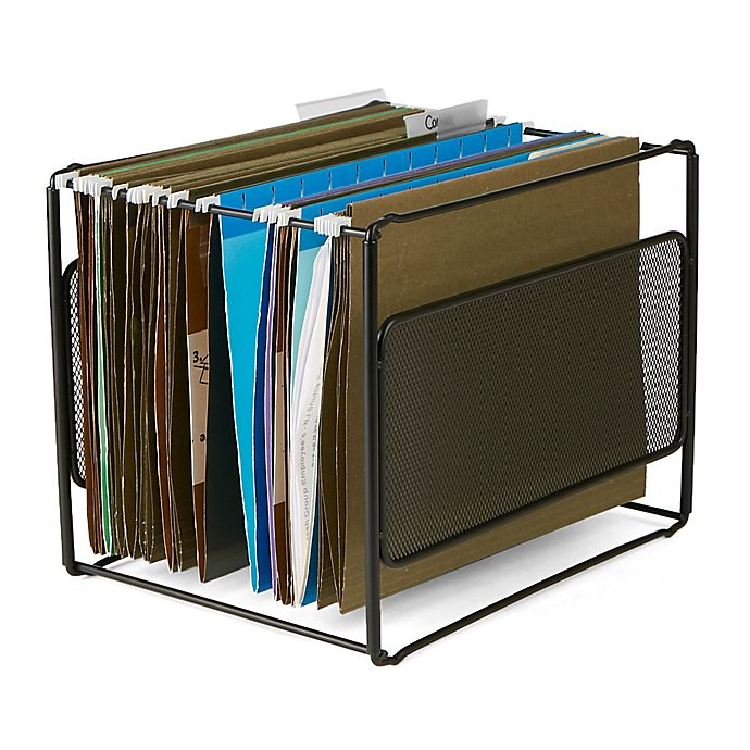 Alternate image 1 for Mind Reader Metal Mesh Hanging Folder Organizer