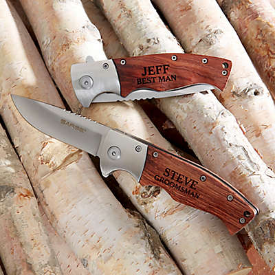 Sarge Groomsman Wooden Handle Folding Knife