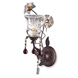 ELK Lighting Cristallo Fiore 1-Light Wall Bracket In Deep Rust And Hand Blown Florets