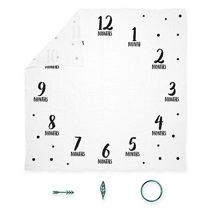 Alternate image 1 for Pearhead® Watch Me Grow Muslin Photo Blanket in White