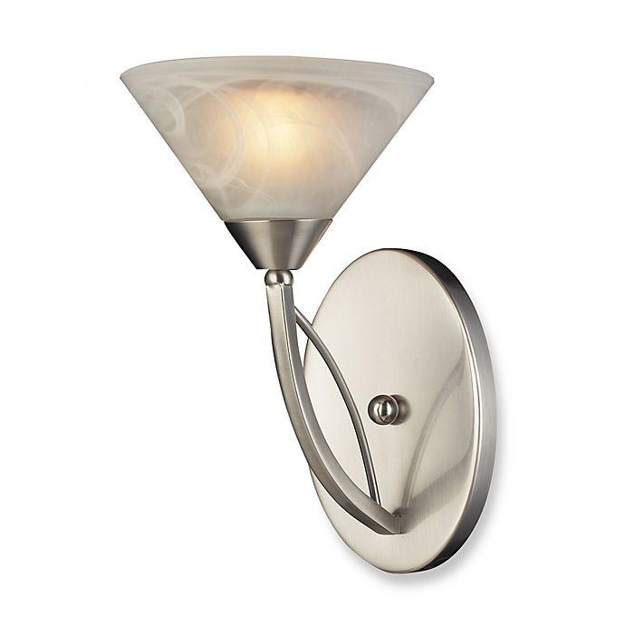 Elk Lighting Elysburg Vanity In Satin Nickel With Marbleized White Gl