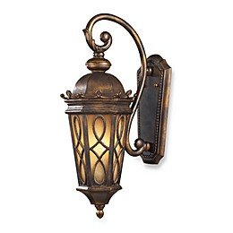 ELK Lighting Burlington Junction 2-Light Wall Bracket in Hazelnut Bronze and Amber Scavo Glass