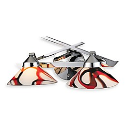 ELK Lighting Refraction 2-Light Wall Bracket in Polished Chrome with Creme and White Glass Shades