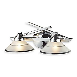 ELK Lighting Refraction 2-Light Vanity Wall Light in Polished Chrome with Etched Glass Shade