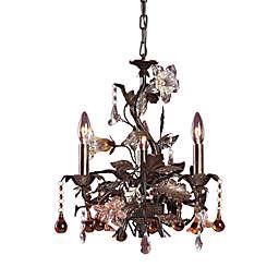 ELK Lighting Cristallo Fiore 3-Light Chandelier in Deep Rust and Hand Blown Florets