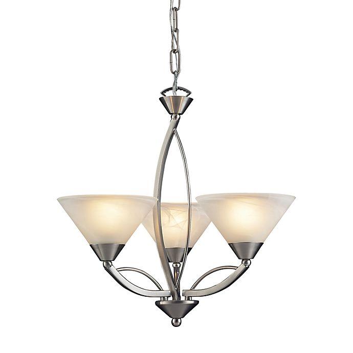 Alternate image 1 for ELK Lighting Elysburg 3-Light Chandelier with Satin Nickel and Marbleized White Glass