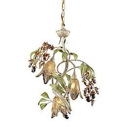 ELK Lighting Huarco 3-Light Chandelier in Seashell and Amber Glass