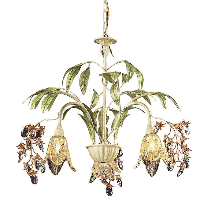 Alternate image 1 for ELK Lighting Huarco 3-Light Blossom Chandelier in Seashell and Amber Glass