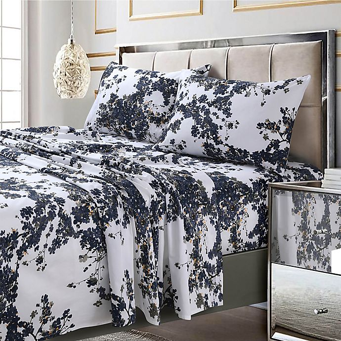 Alternate image 1 for Tribeca Living Milan 300-Thread-Count Deep-Pocket California King Sheet Set in Navy