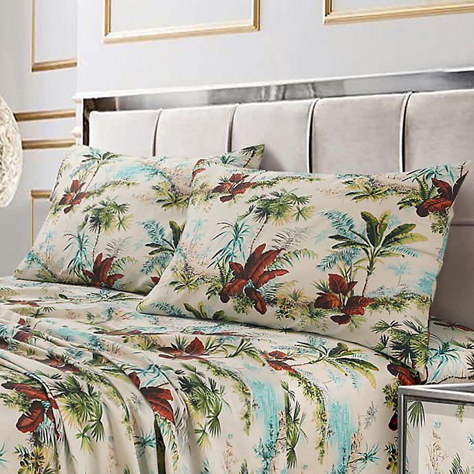 Alternate image 1 for Tribeca Living Paradise Island 300-Thread-Count California King Sheet Set in Burgundy/Green