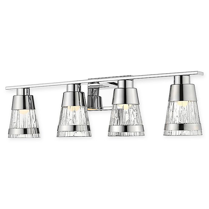 Alternate image 1 for Filament Design Coastal 4-Light LED Vanity Light in Chrome with Chiseled Glass Shades