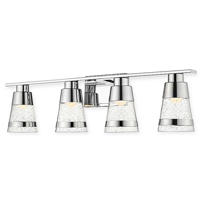 Alternate image 1 for Filament Design Coastal 4-Light LED Vanity Light in Chrome with Seedy Glass Shades