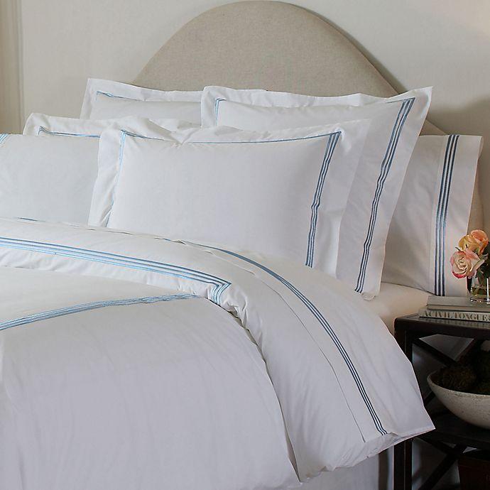 Alternate image 1 for Pointehaven Embroidered 300-Thread-Count Deep-Pocket King Sheet Set in Blue