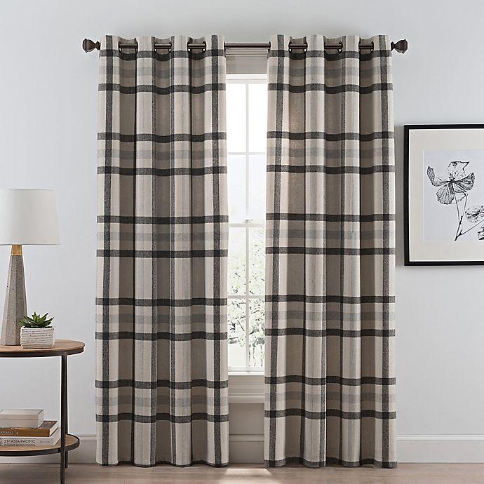 Alternate image 1 for Wool Plaid Grommet Room Darkening Window Curtain Panel