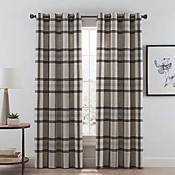 Wool Plaid Grommet Room Darkening Window Curtain Panel