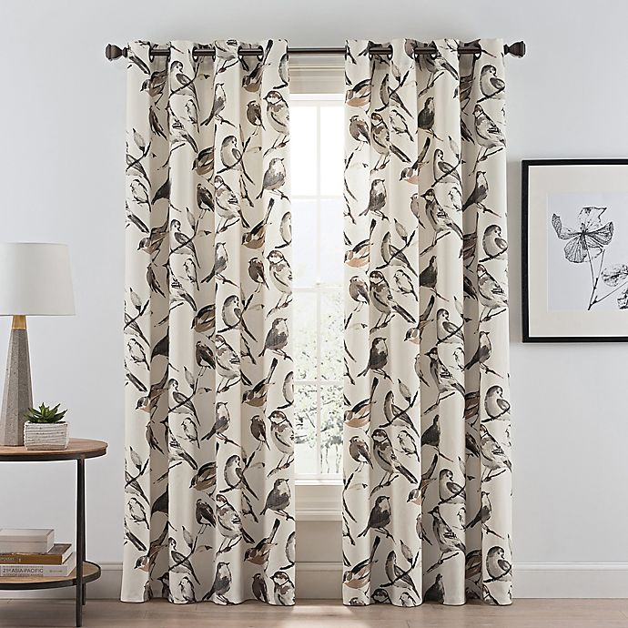 Alternate image 1 for Birdwatcher 108-Inch Grommet Window Curtain Panel in Noire