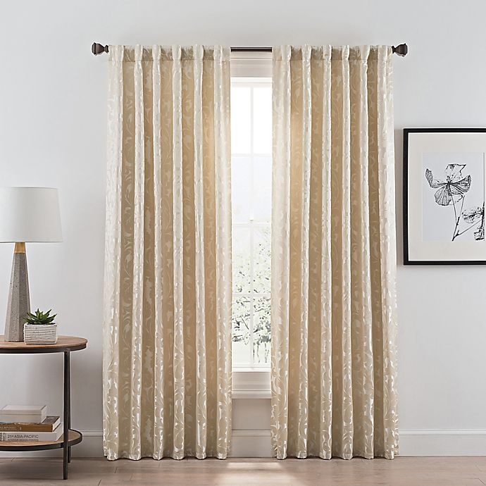 Alternate image 1 for Acanthus 108-Inch Rod Pocket/Back Tab Room Darkening Window Curtain Panel in Champagne