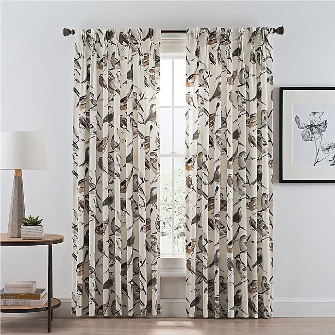 Alternate image 1 for Birdwatcher 108-Inch Pinch Pleat Window Curtain Panel in Noire