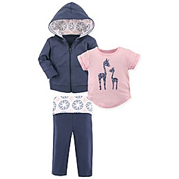 Yoga Sprout 3-Piece Giraffe Hooded Jacket, Shirt, and Pant Set in Navy/Pink