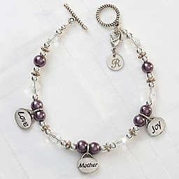 Silvertone Love, Mother, Joy 7.5-Inch Charm Bracelet